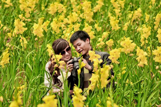Chụp ảnh lưu niệm tại làng hoa Hà Đông