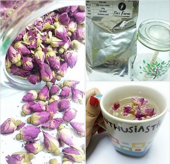 Chỉ cần 9g búp hoa hồng là có ngay ly trà hoa hồng thơm ngon