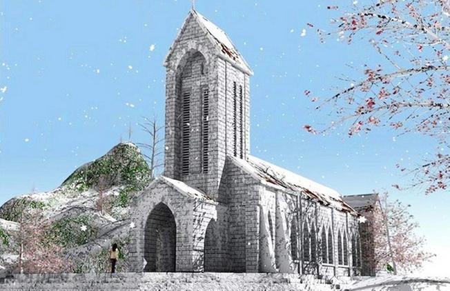 hà thờ cổ Sa Pa phủ đầy tuyết trắng – mang vẻ đẹp Châu Âu