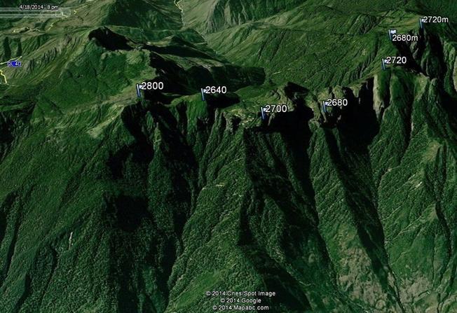 Tọa độ và độ cao của các đỉnh núi Ngũ Chỉ Sơn trên vệ tinh