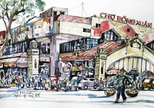 Ký họa về chợ Đồng Xuân
