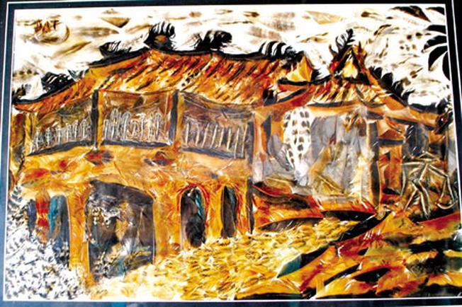 Bức tranh lông gà Chùa Cầu - Hội An tặng bạn của họa sĩ Ngọc Đạt