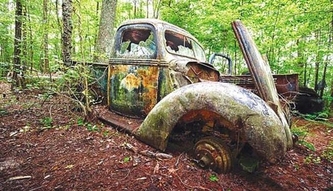 Xác một chiếc xe hơi cổ bên trong khu vườn