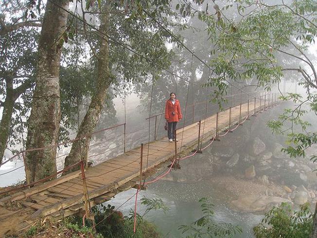 Chiếc cầu gỗ phục vụ cho việc di chuyển cho người dân