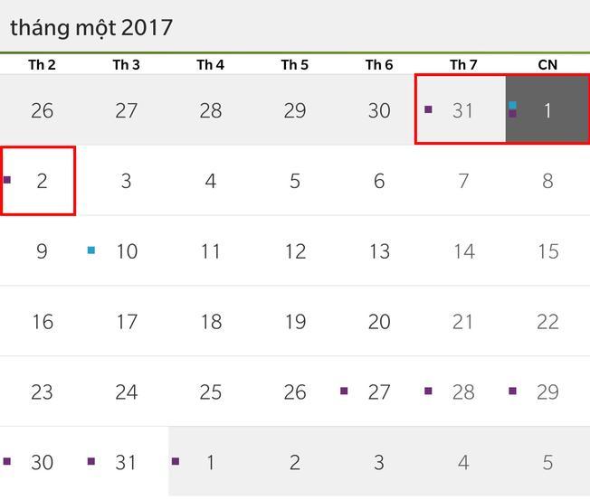 Tết Dương lịch 2017 người lao động được nghỉ 3 ngày